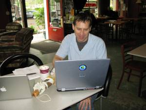 coffee and website finalizing at The Sentient Bean