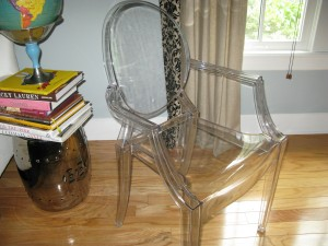 "Starck Louis Ghost chair.  Ours before they were ""cool""."