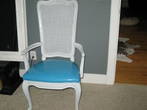 Been holding onto this piece of turquoise patent leather for 2 years!  Love it on the chair...again, we have two.