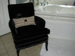 Black Velvet in the masterbath.  New Belgian Linen pillow made by Robbie.