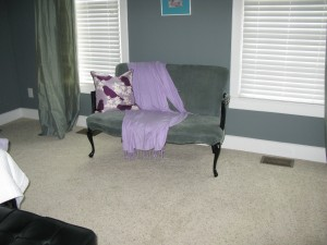 Emilie's regal bird dog daybed with her favorite Thomas Paul bird pillow and purple pashmina.