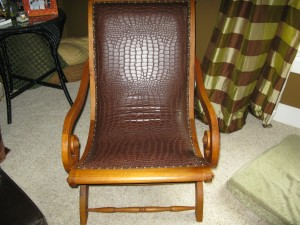 Traditional Plantation chair covered with a non traditional Alligator vinyl.