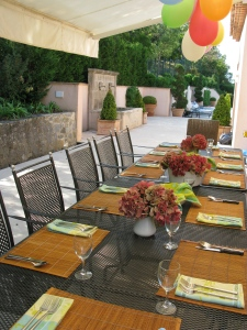 Side outdoor dining area...Table set for Benj's birthday dinner