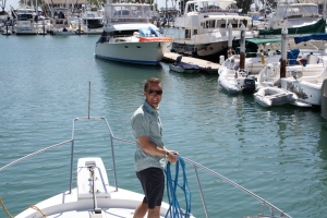 Leaving Dana Point for a day of yachting...Josh going to the dark side on a motor yacht