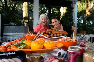 The Beautiful Star and the giddy food stylist having fun before the cameras roll.